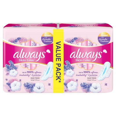 Always, Feminine Pads, Skin Love, Cotton Soft, Maxi Thick, Large With Wings - 48 Pcs