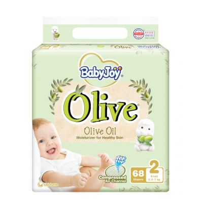 Babyjoy, Baby Diapers, With Olive Oil, Small Size, Stage 2, From 3.5-7 Kg - 68 Pcs
